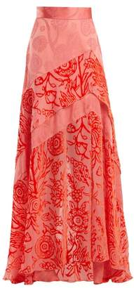 Peter Pilotto Floral Devore Velvet Skirt - Womens - Pink
