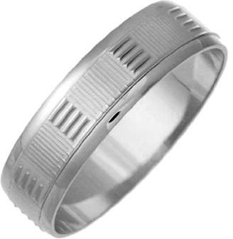 Theia 9ct Squares with Grooved Designed Wedding Ring - 5 mm, White Gold, Size K