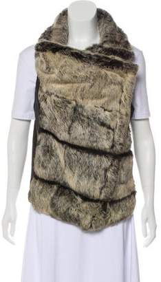 Helmut Lang Fur & Leather-Trimmed Zip-Up Vest
