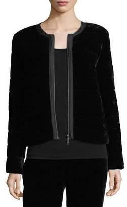 Eileen Fisher Petite Quilted Velvet Bomber Jacket