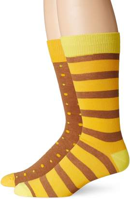 English Laundry Men's 2 Pack Pin Dot and Stripe Crew Socks
