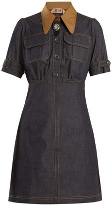 No.21 NO. 21 Contrast-collar stretch-cotton chambray dress