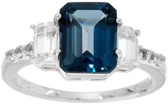 Emerald Cut London Blue Topaz & White Topaz Sterling Ring, 2.90 cttw