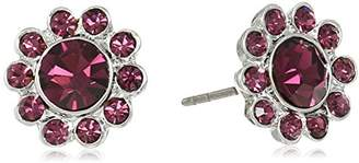 1928 Jewelry Silver-Tone Post Button Stud Earrings