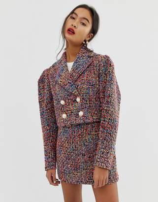 Asos Design DESIGN pop boucle suit blazer with statement buttons
