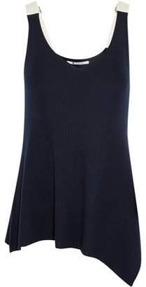 Alexander Wang Asymmetric Cotton-Trimmed Ribbed Merino Wool Tank