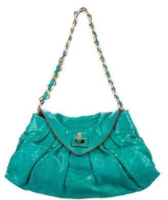 Zagliani Pleated Python Shoulder Bag