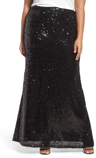 Adrianna Papell Plus Size Women's Adrianna Papell Sequin Skirt