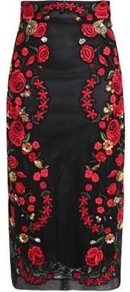 Dolce & Gabbana Embellished Embroidered Mesh Pencil Skirt