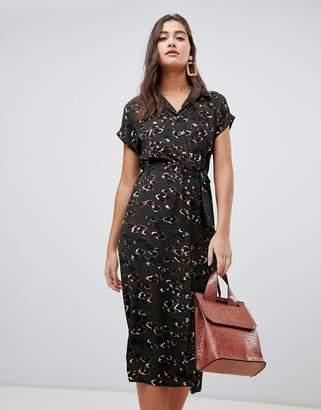 New Look midi shirt dress in black leopard print