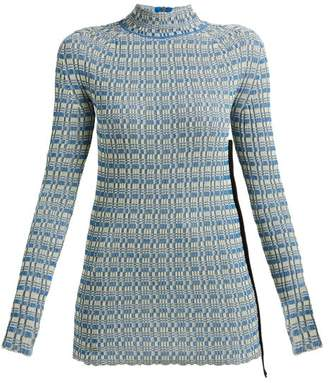 Jil Sander Striped Ribbed Knit Cotton Sweater - Womens - Blue Multi