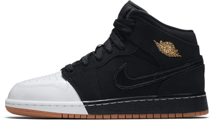 Air Jordan 1 Mid Big Kids' Shoe, by Size 3.5Y (Black) - Clearance Sale