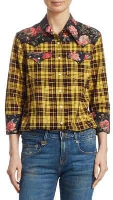 R 13 Floral Plaid Cowboy Shirt