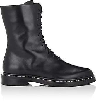 The Row Women's Fara Leather Combat Boots - Black