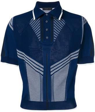 Prada mixed panel knitted polo shirt