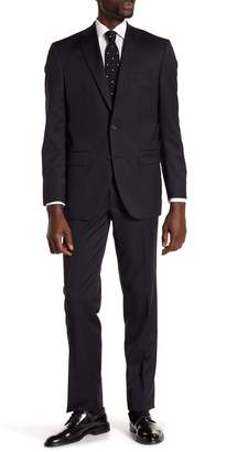 David Donahue Navy Solid Two Button Notch Lapel Wool Classic Fit Suit