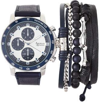 N. American Exchange MST5472 Silver-Tone & Navy Watch & Bracelet Set
