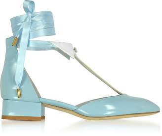Olgana Paris L'Ideal Baby Blue Patent Leather Mid-Heel Pump