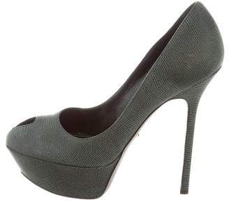 Sergio Rossi Textured Peep-Toe Pumps