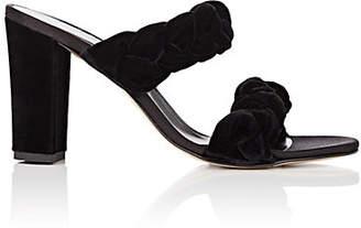 Barneys New York Women's Braided Velvet Double-Band Sandals - Black
