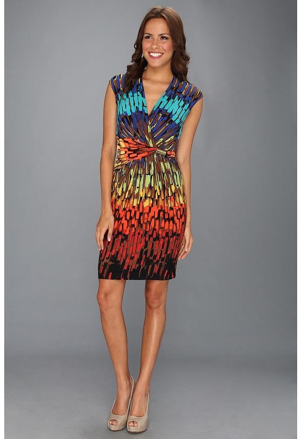 Ellen Tracy Surplice Jersey Print W/Hardware Dress (Orange Multi) - Apparel