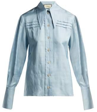 Gucci Point Collar Silk Dupion Shirt - Womens - Blue