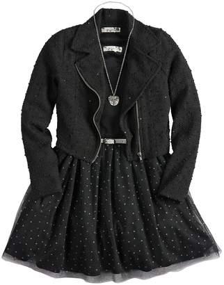 Knitworks Girls 7-16 Skater Dress & Moto Jacket Set