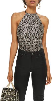 Topshop Animal Sequin Bodysuit