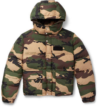 Off-White Appliquéd Camouflage-Print Quilted Shell Hooded Down Jacket
