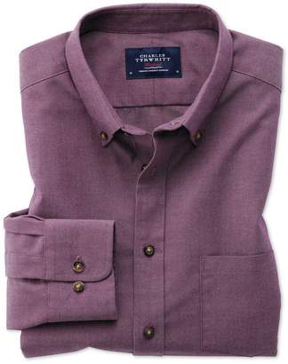 Charles Tyrwhitt Slim Fit Button-Down Non-Iron Twill Purple Cotton Casual Shirt Single Cuff Size Large
