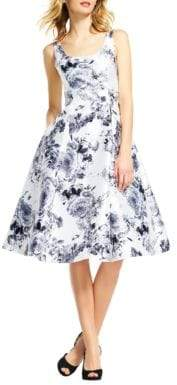 Adrianna Papell Mikado Tea Length Floral Dress