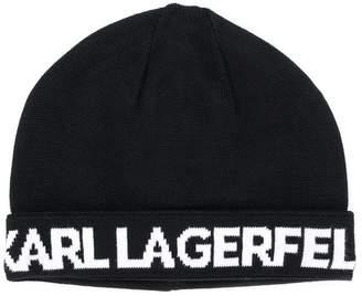 Karl Lagerfeld logo knitted beanie