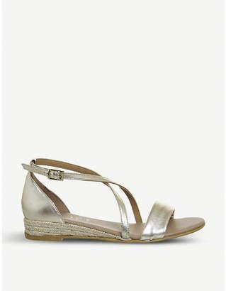 Office Sierra cross-strap metallic leather sandals