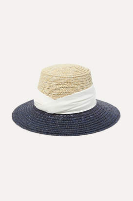 Eugenia Kim Stevie Satin-trimmed Two-tone Straw Hat - Navy