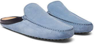 Tod's Leather-Trimmed Suede Backless Loafers - Men - Light blue