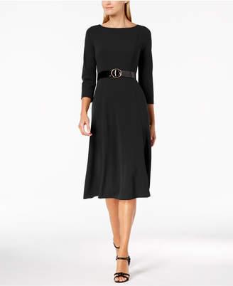 Calvin Klein Belted Midi A-Line Dress