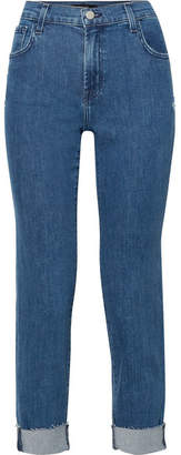 J Brand Johnny Distressed Boyfriend Jeans - Mid denim