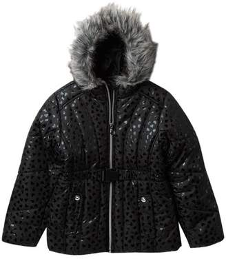 Rothschild Printed Puff Jacket with Faux Fur (Big Girls)
