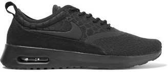 Nike - Air Max Thea Suede-trimmed Textured-knit Sneakers - Black $135 thestylecure.com