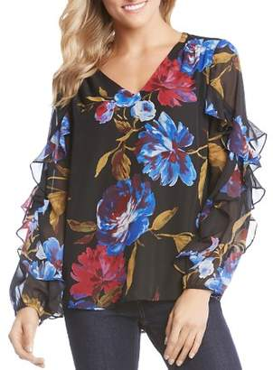 Karen Kane Floral-Print Ruffle-Sleeve Top