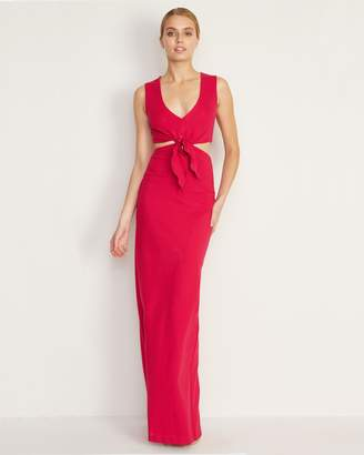 Nicole Miller Structured Heavy Jersey Tie Front Gown