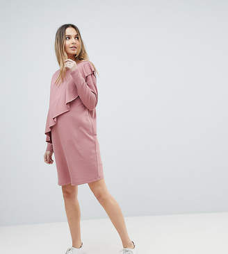 Asos Sweat Dress With Ruffle Front