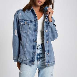 River Island Womens Mid blue premium oversized denim jacket