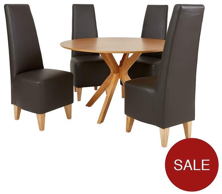 Starburst 119 Cm Oak Veneer Circular Dining Table + 4 Manhattan Chairs