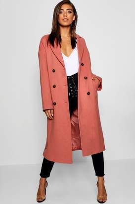 boohoo Belted Double Breasted Coat