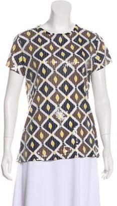 Tory Burch Embellished Abstract Printed T-Shirt
