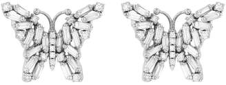 Suzanne Kalan Small White Diamond Firework Butterfly Stud Earrings - White Gold
