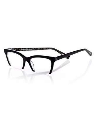 Eyebobs Flat Cat Semi-Rimless Cat-Eye Readers, Black/Gold