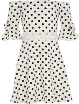 River Island Girls white polka dot bow bardot dress