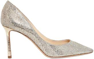 Jimmy Choo 85mm Romy Glitter & Net Lace Pumps
